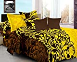 Ahmedabad Cotton Basics 136 TC Cotton Double Bedsheet with 2 Pillow Covers - Brown and Yellow