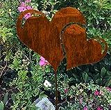 RDI Edelrost Doppel Herz auf Stab, Rostiges Metall, Gartenfigur, Metall Figur, Gartendeko