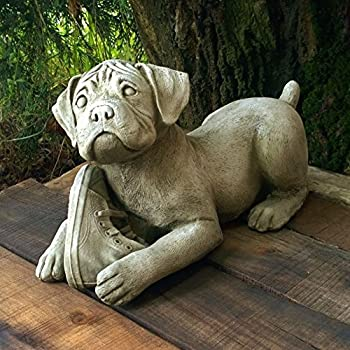 Incroyable Boxer Garden Statue Made From Reconstituted Stone.