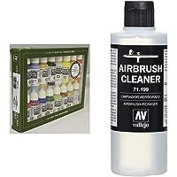 Vallejo USA Coffret de 16pots de peinture acrylique pour modélisme Couleurs assorties & Produit nettoyant pour…