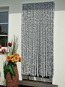 Rideau de porte avec une bonne protection contre Flauschi Chenillevorhang silberweiss 100 x 200
