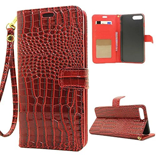 EKINHUI Case Cover Krokodil Pattern PU Ledertasche, Horizontale Flip Stand Folio Geldbörse Holster Case Cover mit Lanyard & Card Slots für iPhone 7 Plus ( Color : Green ) Red
