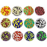 [Sponsored]eshoppee 240 Gm Glass Beads / Seed Beads Double Two Tone Color, Size 3mm (8/0) For Jewelery Making Set Of 12 Colours , 20Gm X 12 Art And Craft DIY Kit (Double Tone Colors)