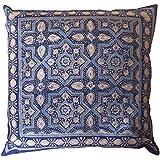 Hecho a mano indio de algodón Cojín con Block Print Azrak Azul Patrón, tela, azul, 45 x 45cm