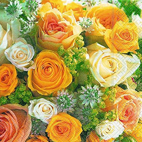 40 Servietten Rosenstrauß (Bouquet of roses) Hochzeit 1/4 gefalzt, 3-lagig Größe offen: 33x33 Bouquet Serviette