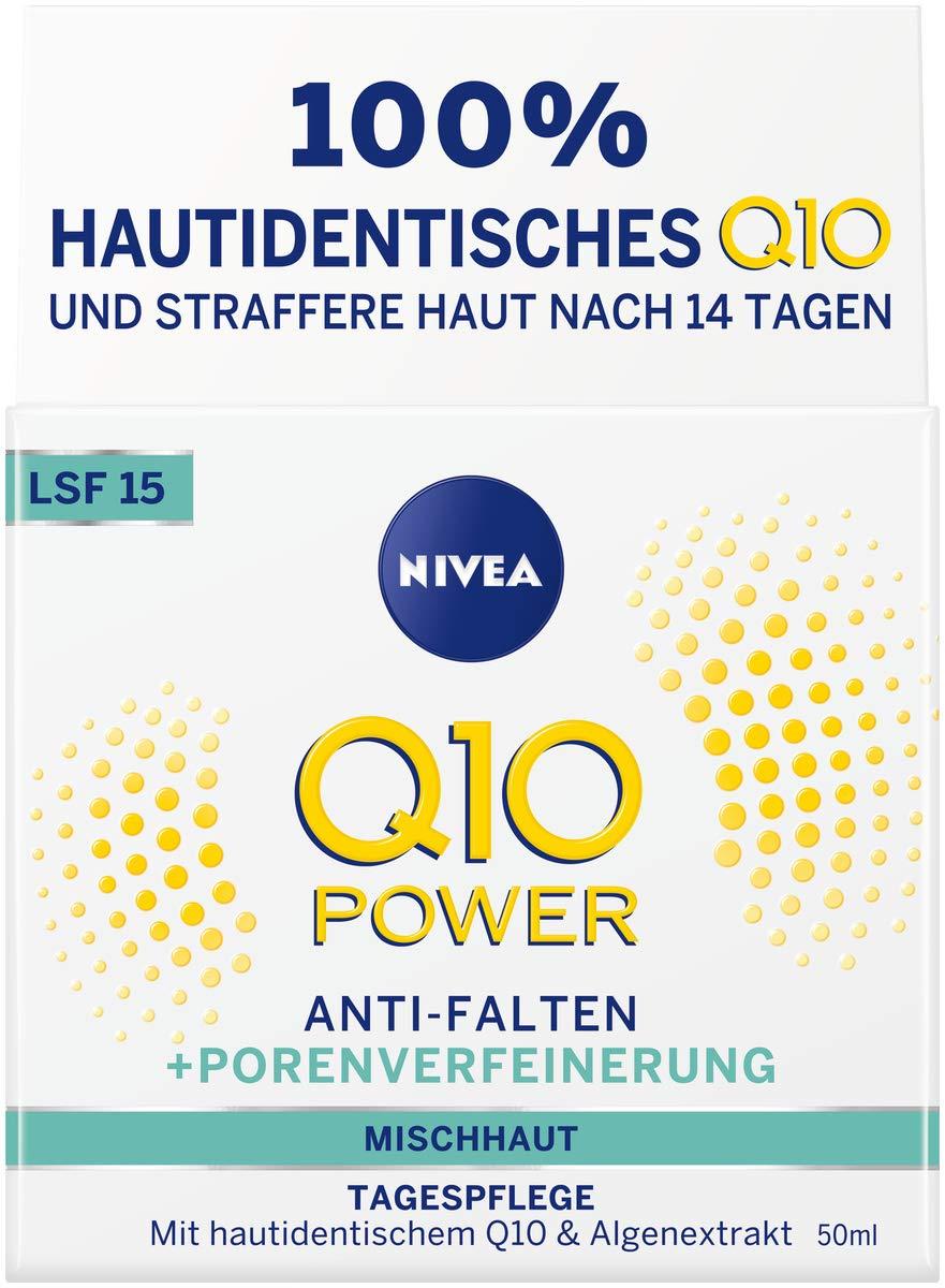 Nivea Q10Power anti-arrugas + la racionalización porenverfeinernde Día Cuidado Para rejuvenecedora, crema de día con LSF 15, 2unidades (2x 50ml)