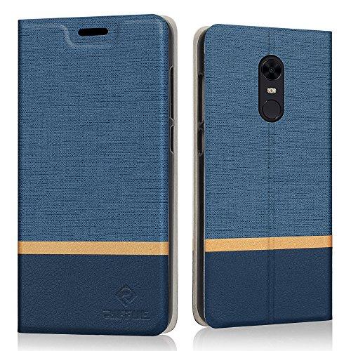 """RIFFUE Funda Xiaomi Redmi 5 Plus, Carcasa Delgada Libro de Cuero con Tapa Cartera de Ranura y Billetera Elegante Case Cover para Xiaomi Redmi 5 Plus 5.99"""" - Azul"""