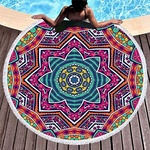 Vanzelu Tropisches Strandtuch Mit Sonnenschutz, Mikrofaser Mit Quastenmuster, Geometrisches Muster