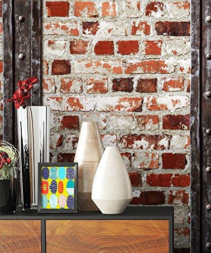 Steintapete Rot Weiß Rustikal Natur Eisen Stein, schöne edle Tapete im Steinmauer Loft Design, moderne 3D Optik für Wohnzimmer, Schlafzimmer oder Küche inkl. Newroom Tapezierbroschüre -