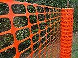 Warnzaun, Bauzaun, Absperrzaun Medium Plus 200g/m², 1 x 50m, orange, zur Absicherung und Kennzeichnung von Baustellen, Gefahrenzonen, Loipen u.a.