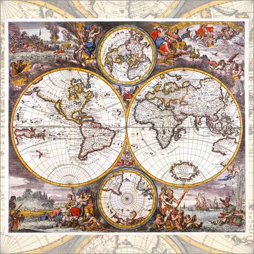 Land Mittel-wandhalterung (Posterlounge Holzbild 90 x 90 cm: Weltkarte mit den Vier Elementen (um 1700) von Jakob Folkema/akg-Images)