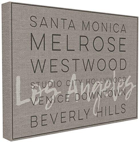 The Stupell Home Décor Collection La Santa Monica Beverly Hills Typographie Wandschild, Canvas, Mehrfarbig, 60.96 x 3.81 x 76.2 cm -