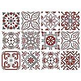 Adhésif carrelage - Sticker carreaux de ciment - Autocollant - Décoration - Bisknight (Rouge, Gris, Blanc) - 12 pièces (15 x 15 cm)