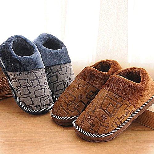 YMFIE Femmes Hommes hiver chaud accueil chaussures chaussons coton épaississement J