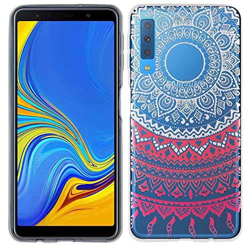 yayago Hülle für Samsung Galaxy A7 2018 Silikon Schutzhülle Hülle Case Backcover Tattoo Ornament Mandala Design transparent Tasche