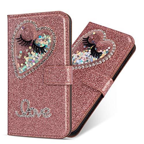 Miagon Hülle Glitzer für Huawei Mate 10 Pro,Luxus Diamant Strass Herz PU Leder Handyhülle Ständer Funktion Schutzhülle Brieftasche Cover für Huawei Mate 10 Pro,Roségold