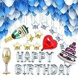 [127 Piezas] Globos Cumpleaños / Happy Birthday / Suministros y