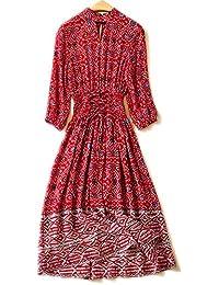 424009e131d3 YYD  Élégante Femmes Maxi Dress Mulberry soie imprimé floral Bandages  taille élastique Summer Beach rouge