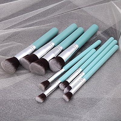 Anself Wood 9Pcs Makeup Brush Kit Professional Cosmetic Set Blue