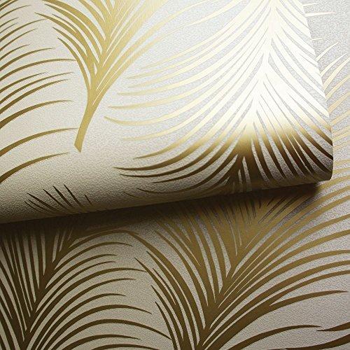 HOLDEN metallisch Feder Muster Tapete Blattmotiv modern texturiert exklusiv - 50080 Gold