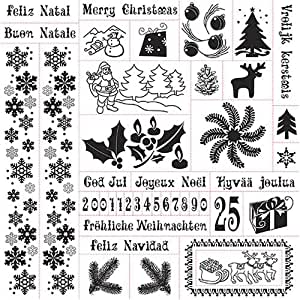 Fiskars Easy Stamp Press - Christmas / Tampons transparents thème Noël
