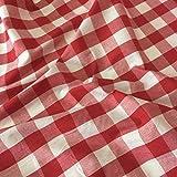 Rot Gingham Stoff Polyester und Baumwolle 2,5cm