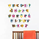 Rawpockets PVC Vinyl Alphabet Letters with Baby Animals Wall Sticker (0.99 cm X 40 cm X 120 cm, Multicolor)
