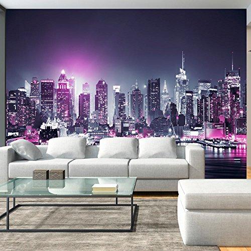 murando – Papier peint intissé 400x280 cm – Papier peint – Tableaux muraux déco XXL – New York City ville NY Manhattan nuit Panorama highrise gratte-ciel d-C-0012-a-d