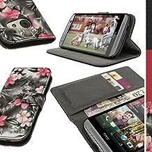 igadgitz 'Vintage Collezione' Esecutivo Portafoglio Rosa su Nero Floreale Eco Pelle Custodia Case Cover per HTC One MINI 2 2014 ( M8 MINI ) Con Porta Carte + Supporto + Chiusura Magnetica + Pellicola