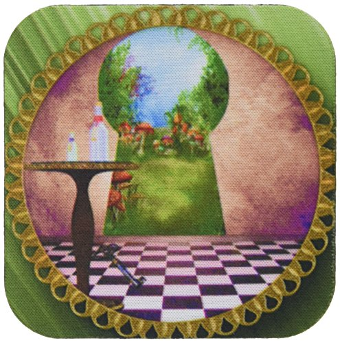3dRose CST 128860_ 1durch die Schloss alicein Wonderland Art Karierten Boden Flasche Magic Wasser weich Untersetzer, 4Stück