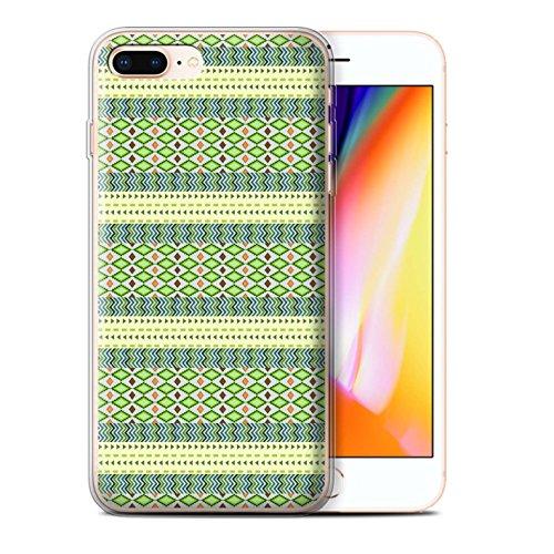 Stuff4 Gel TPU Hülle / Case für Apple iPhone 8 Plus / Lila/Rot Muster / Aztekische Stammes Muster Kollektion Grün