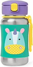 Skip Hop Zoo Stainless Steel Unicorn Straw Bottle, Multi