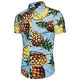 BURFLY Herren Sommer Hemd, Sommer Umlegekragen Hemd Drucken Kurzarm Hawaii Urlaub Strand Freizeit Hemd mit Ananas Aufdruck (M, Blau)