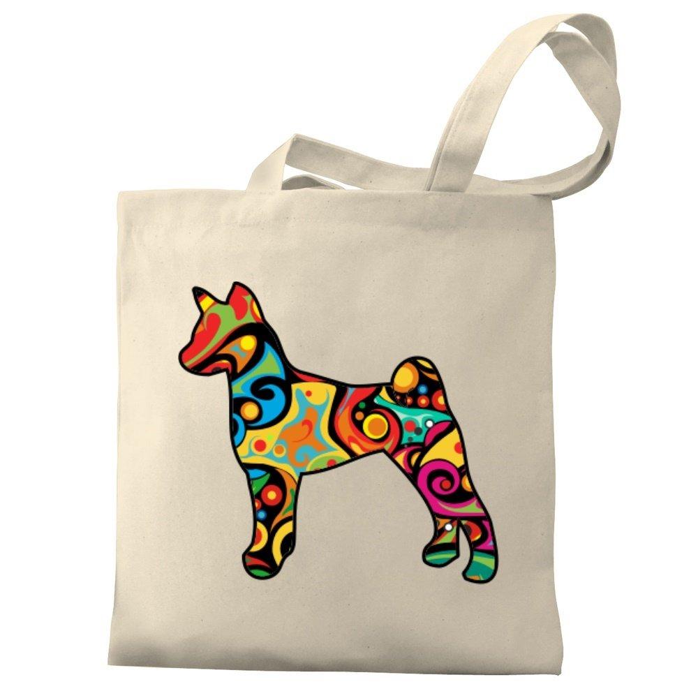 Eddany Psychedelic Basenji Canvas Tote Bag