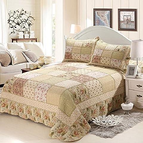 Beddingleer 100% Cotton Jacquard Bedding King Quilt Set Bedspread/Patchwork quilt 3 PCS , King