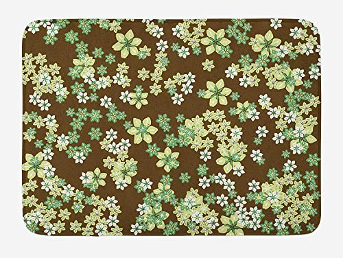 Floral Bath Mat, Garden Flowers Field Bouquet Ecology Mother Earth Themed Print, Plush Bathroom Decor Mat with Non Slip Backing, 23.6 W X 15.7 W Inches, Jade and Avocado Green Brown