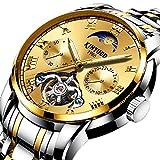 Smartwatches,KINYUED Vollautomatische Hohle Schwungrad Mechanische Uhr Aus Edelstahlarmband Inter Gold Shell Und Inter Gold B