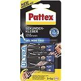Pattex Secondelijm Ultra Gel Mini Trio, extra sterke en flexibele superlijm in 3 tubes secondelijm gel voor bijv. rubber, lee