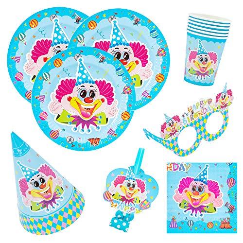 lown-Party Set für Geburtstag Kindergeburtstag Mottoparty, Tischdeko Partygeschirr Set für 6 Personen ()