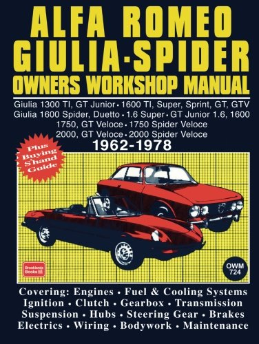 Alfa Romeo Giulia Spider Owners Workshop Manual 1962-1978: This Is A Do It Ourself Workshop Manual, It Was Written For The Owner Who Wishes To ... and Maintenance (Workshop Manual Alfa Romeo)