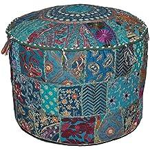 Online Big Bazar - Taburete, diseño otomano, 58 x 33 cm, bordado, forma redonda