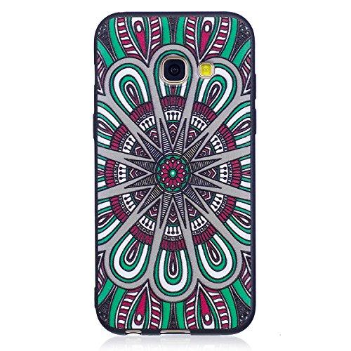 en, Hozor Dünne Weiche TPU Silikon Handyhülle Schutztasche Back Cover Gemalt Geprägt Muster Schutzhülle Etui für Samsung Galaxy A3 2017 / A320 4.7 zoll - Tribal Blume ()