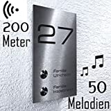 Metzler-Trade - Funk-Türklingel für Mehrfamilienhäuser - mit Gravur-Service - 200 Meter Reichweite – Aufputz-Montage inkl. Befestigungsmaterial – wasserdichter Edelstahl-Taster – Maße: 120 x 200 x 26 mm