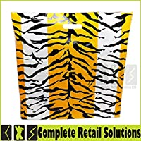 100xNEW Strong Plastic Carrier Bags Luxury Tiger Printed DIE Cut Handle Bags (22