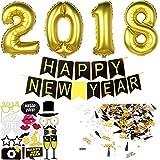 Decoration Nouvel An 2018 Deco Fete Nouvelle Année | Bonne Année Bannière + 2018 Ballons Géants + Accessoires Photo Booth Props Reveillon du Nouvel An + Confettis par Jonami