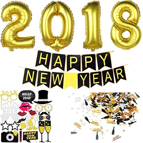 Silvester Deko 2018 Silvester Dekoration Set | Happy New Year Girlande + Riesige Folienballons + Neujahr Fotorequisiten Masken Konfetti. Neujahrsdeko / Silvesterpartydeko Accessoire fur Silvesterparty