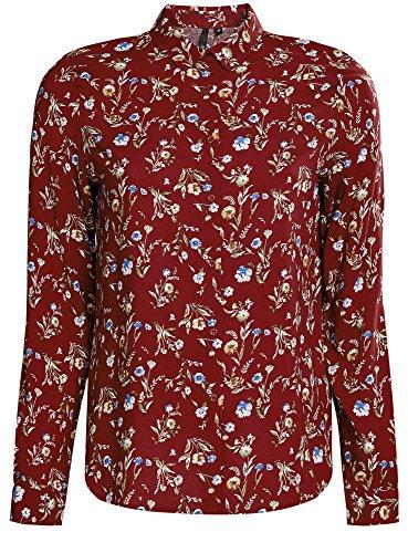 oodji Ultra Femme Blouse en Viscose Imprimée Rouge (4970F)