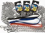 Hundeleine Stahl Classic Long 1.2 mt Halsband Leine Führungsleine Hundeleine Bondage Fetisch Halsband Stahl Metall Kette ca.120cm - Griff Nylon ca.20cm