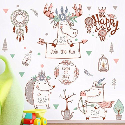 HCCY Wandhalterung hirsch jagd Traum Netzwerk gegen Zimmer Schlafzimmer cartoon der Kinder Aufkleber ihr Baby Nursery cute Gemälde 91 * 66 cm zu personalisieren -