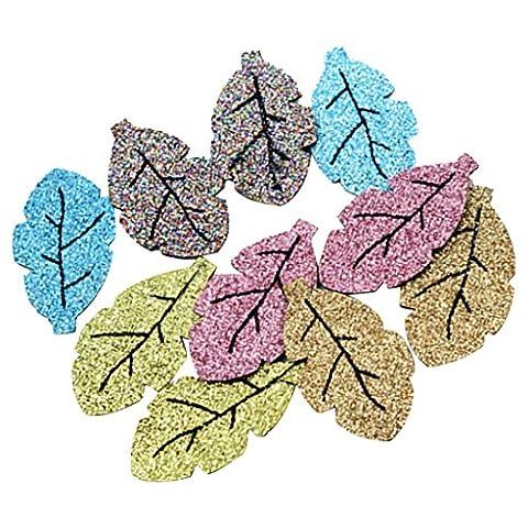 MagiDeal 10pcs Glitter Blätter Sequins Appliques Nähen Auf Patch DIY Haar Ornament Handwerk (Glitter Blätter)